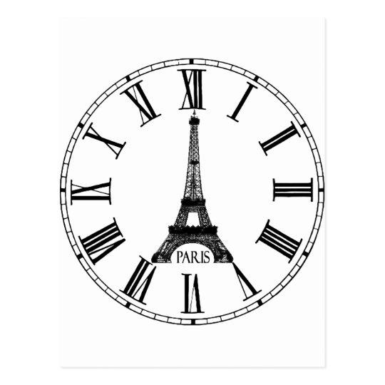 Paris Eiffel Tower Clock French Postcard