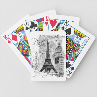Paris Eiffel Tower Collage Bicycle Playing Cards