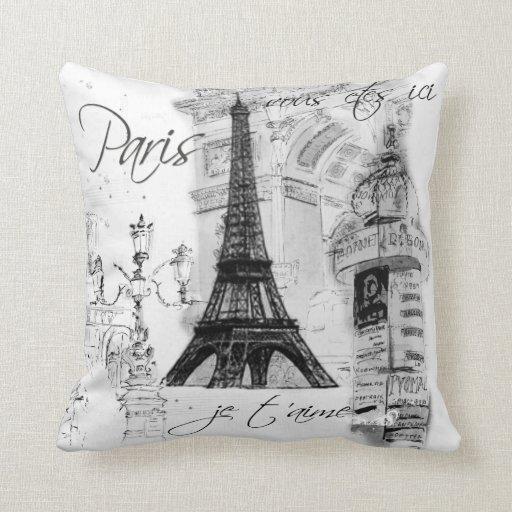 Paris Eiffel Tower Pillow 16 X 16: Paris Eiffel Tower Collage Black & White Throw Pillows