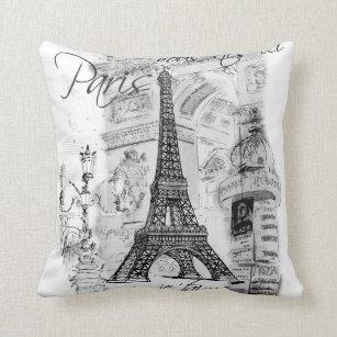Paris Eiffel Tower Collage Black White Throw Pillow