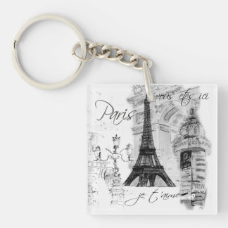 Paris Eiffel Tower Collage Single-Sided Square Acrylic Keychain