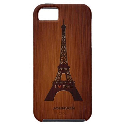 Paris Eiffel Tower & Custom Name Luxury Rosewood iPhone 5 Covers