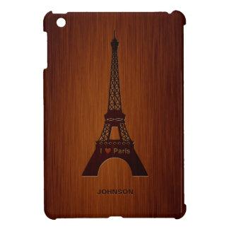 Paris Eiffel Tower & Custom Name Luxury Rosewood Cover For The iPad Mini