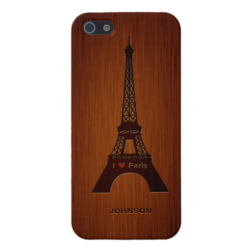Paris Eiffel Tower & Custom Name Luxury Rosewood Cases For iPhone 5