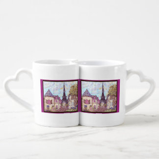 Paris Eiffel Tower dots inspired lovers mugs Couples' Coffee Mug Set