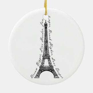Paris Eiffel Tower Dream Bigger Inspirational Ceramic Ornament