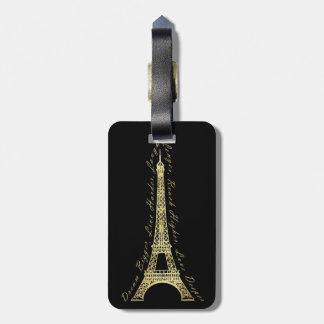 Paris Eiffel Tower Dream Bigger Inspirational Luggage Tag