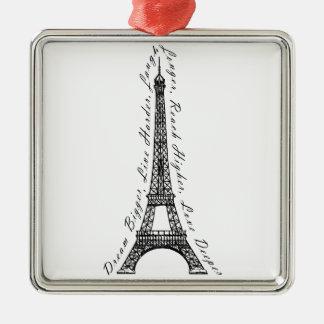 Paris Eiffel Tower Dream Bigger Inspirational Metal Ornament