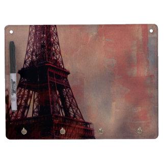 Paris Eiffel Tower Dry Erase Board With Keychain Holder