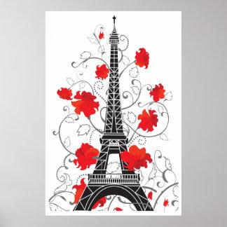 Paris Eiffel tower elegant stylish silhouette Poster