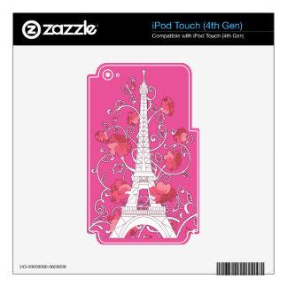 Paris Eiffel tower elegant stylish silhouette Skin For iPod Touch 4G