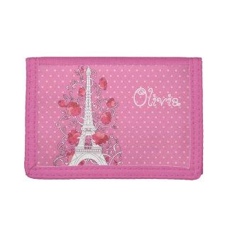 Paris Eiffel tower elegant stylish silhouette Tri-fold Wallets