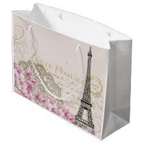 Paris Eiffel Tower Elegant Vintage Large Gift Bag