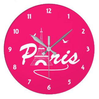 Paris Eiffel Tower Fancy Text Graphic Large Clock