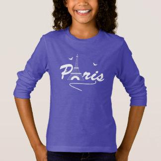 Paris Eiffel Tower Fancy Text Graphic T-Shirt