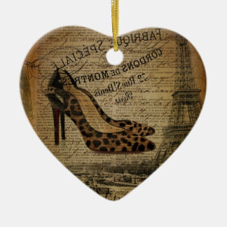 paris eiffel tower fashionista girly shoes ceramic ornament