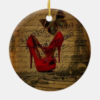 Paris eiffel tower fashionista red stilettos ceramic ornament