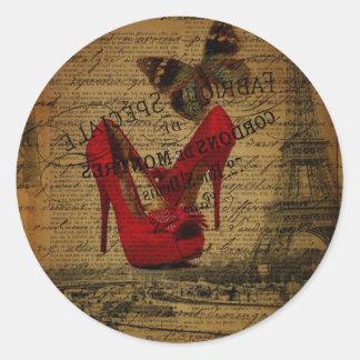 Paris eiffel tower fashionista red stilettos classic round sticker