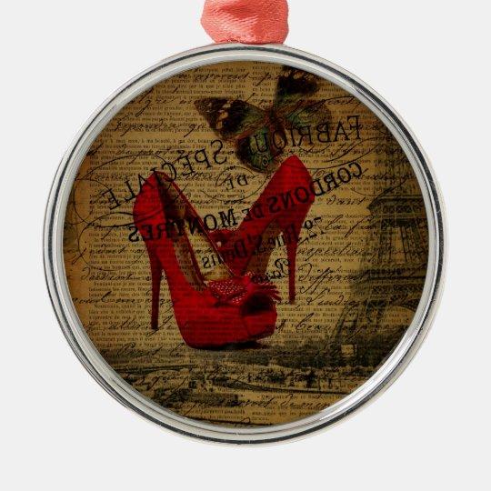 Paris eiffel tower fashionista red stilettos metal ornament