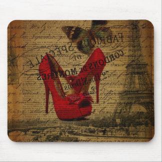 Paris eiffel tower fashionista red stilettos mouse pad