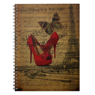 Paris eiffel tower fashionista red stilettos notebook