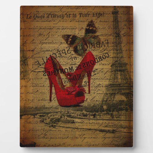 Paris eiffel tower fashionista red stilettos plaque