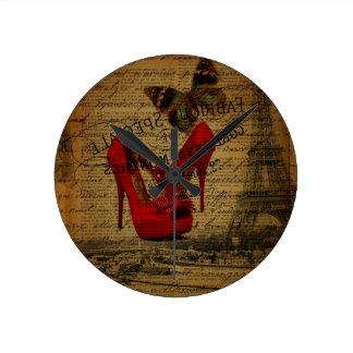 Paris eiffel tower fashionista red stilettos round clock
