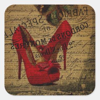 Paris eiffel tower fashionista red stilettos square sticker