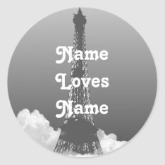Paris Eiffel Tower Floats In Cloud Name Sticker at Zazzle