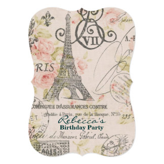 paris eiffel tower floral vintage birthday party 5x7 paper invitation card