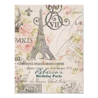 paris eiffel tower floral vintage birthday party card