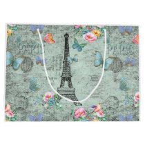 Paris-Eiffel Tower-Flower-Floral-Vintage-Roses Large Gift Bag