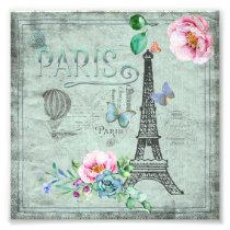 Paris-Eiffel Tower-Flower-Floral-Vintage-Roses Photo Print