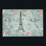"Paris-Eiffel Tower-Flower-Floral-Vintage-Roses Placemat<br><div class=""desc"">Wonderful watercolor illustration of Old Paris with Eiffel-Tower and floral Elements. Made with love by Utart</div>"