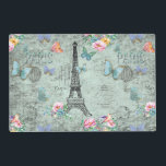 """Paris-Eiffel Tower-Flower-Floral-Vintage-Roses Placemat<br><div class=""""desc"""">Wonderful watercolor illustration of Old Paris with Eiffel-Tower and floral Elements. Made with love by Utart</div>"""