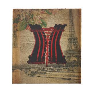 paris eiffel tower flower vintage corset notepad