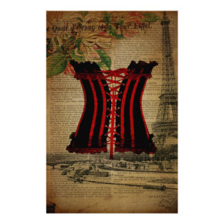 paris eiffel tower flower vintage corset stationery