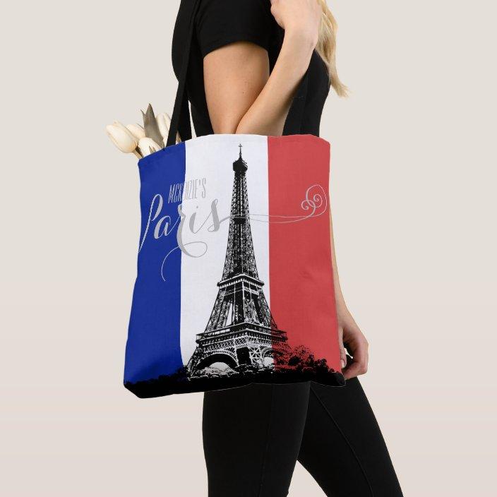 Paris Tote Bag Tote Bag Monogrammed Bag Shopping Bag Monogram Tote Eiffel Tower Tote Embroidery Personalized Tote Eiffel Tower Bag