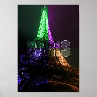 Paris Eiffel Tower France Nightlife City Poster