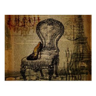 paris eiffel tower french regency rococo postcard