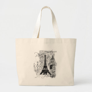 Paris Eiffel Tower French Scene Collage Canvas Bags