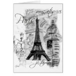 Paris Eiffel Tower French Scene Collage Greeting Cards
