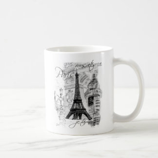 Paris Eiffel Tower French Scene Collage Classic White Coffee Mug