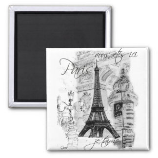 Paris Eiffel Tower French Scene Collage Magnet