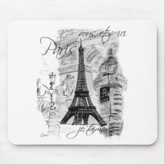 Paris Eiffel Tower French Scene Collage Mouse Pads