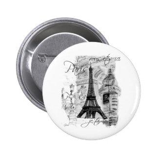 Paris Eiffel Tower French Scene Collage Pinback Button
