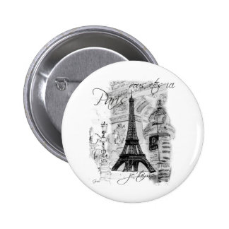Paris Eiffel Tower French Scene Collage Pins