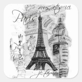 Paris Eiffel Tower French Scene Collage Square Sticker