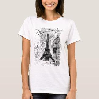 Paris Eiffel Tower French Scene Collage T-Shirt