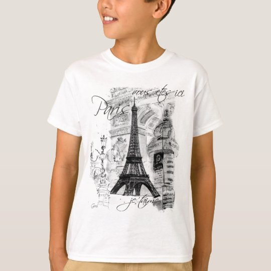 Paris Eiffel Tower French Scene Collage T-Shirt